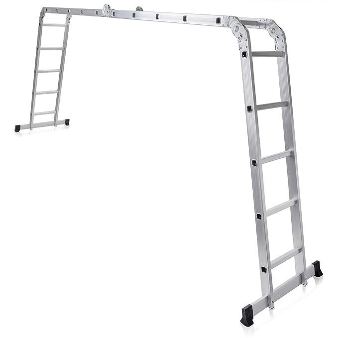 MAXCRAFT Escalera Multifunción Multi-propósito Escalera Ajustable Plegable Aluminio Carga 150 kg Conforme EN-131 - Longitud 5,92 m: Amazon.es: Bricolaje y ...