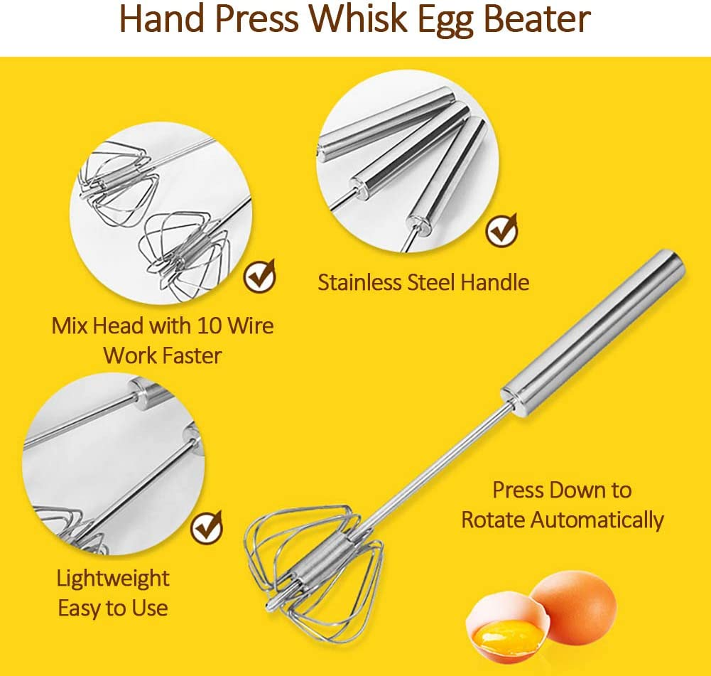 2pcs//set Stainless Steel Egg Beater Mixer Rotary Stirring Whisk Wooden handle h