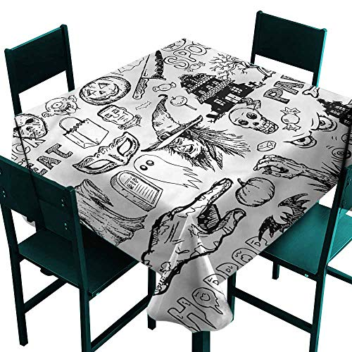DONEECKL Washable Tablecloth Vintage Halloween Treat Party Easy to Clean W50 xL50]()