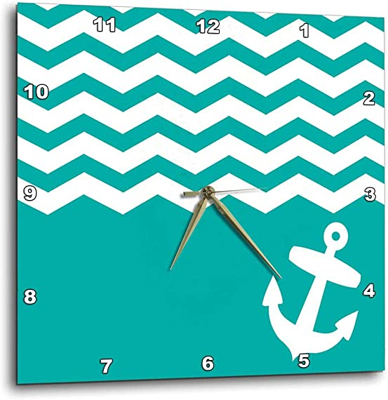 3dRose 3D Rose Turquoise and White Chevron with Nautical Anchor-Sailor Zigzag Pattern Waves-Teal Blue Green-Wall Clock, 10-inch DPP_120204_1