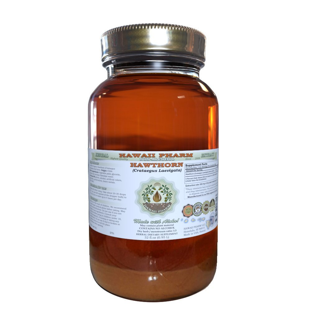 Hawthorn Alcohol-FREE Liquid Extract, Hawthorn Crataegus Laevigata Dried Leaf and Flower Glycerite Hawaii Pharm Natural Herbal Supplement 32 oz Unfiltered