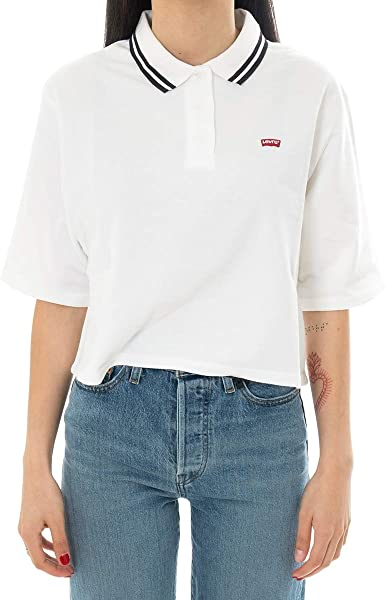 Polo Levis Lila Blanco para Mujer L Blanco: Amazon.es: Ropa y ...