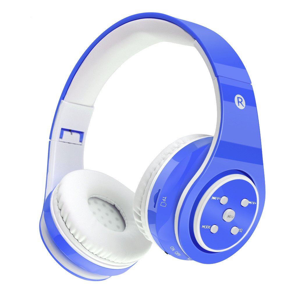 Kids Wireless Headphones Bluetooth Safe Volume Limited 85dB Kids On Ear Headphones,Long Playing Time,SD Card Slot,Stereo Sound,Compatiable for Ipad Cellphone Pc Tablet Kindle-Tekcol (Blue)