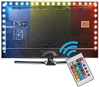 Tira Led Tv, 5050 Tiras Led Usb Con Control Remoto, Impermeable, 24 Colores Para Retroiluminacion Led Tv De 40-60 Pulgadas, Pc Gaming, Coche,Monitor Profesional Luces Led Decoracion (3 metros): Amazon.es: Iluminación