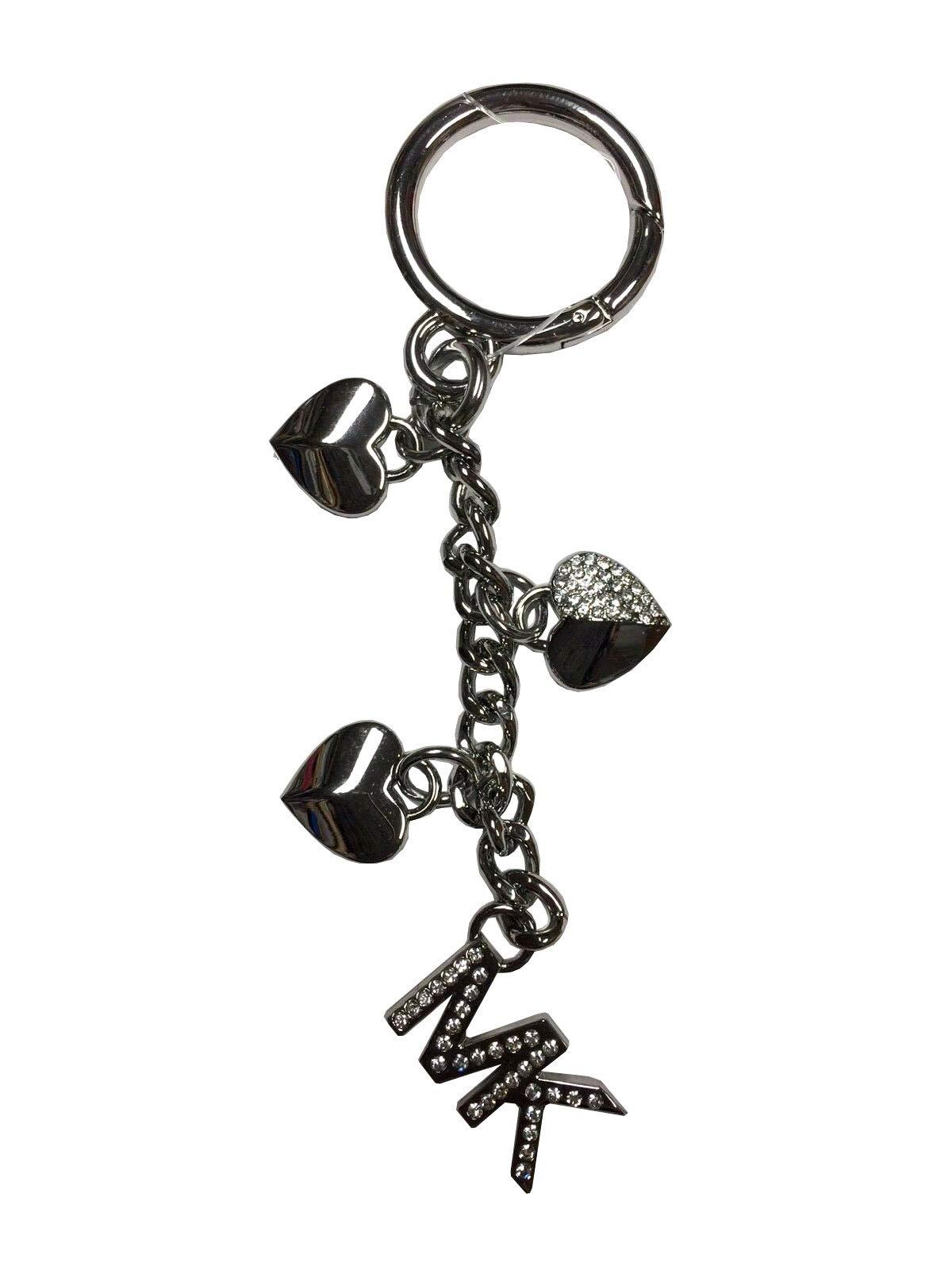 Michael Kors Silver Heart Charms Pave Studded Key Fob Charms by Michael Kors