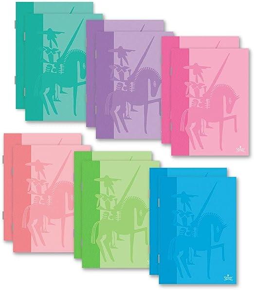 CL0663 - Pack de 6 libretas grapadas de tapa blanda, tamaño Folio, 48 hojas cuadriculadas de 4x4 mm: Amazon.es: Oficina y papelería