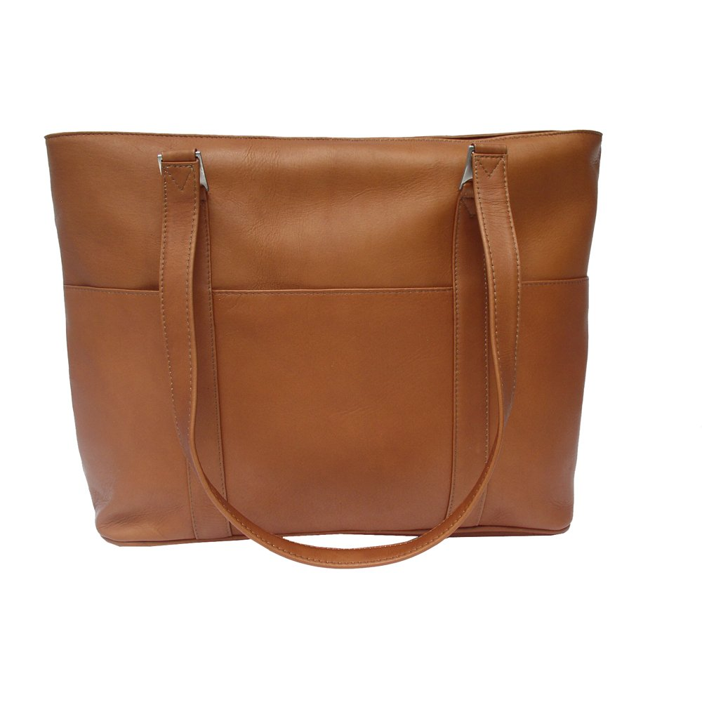 Piel Leather Computer Tote Bag, Saddle, One Size