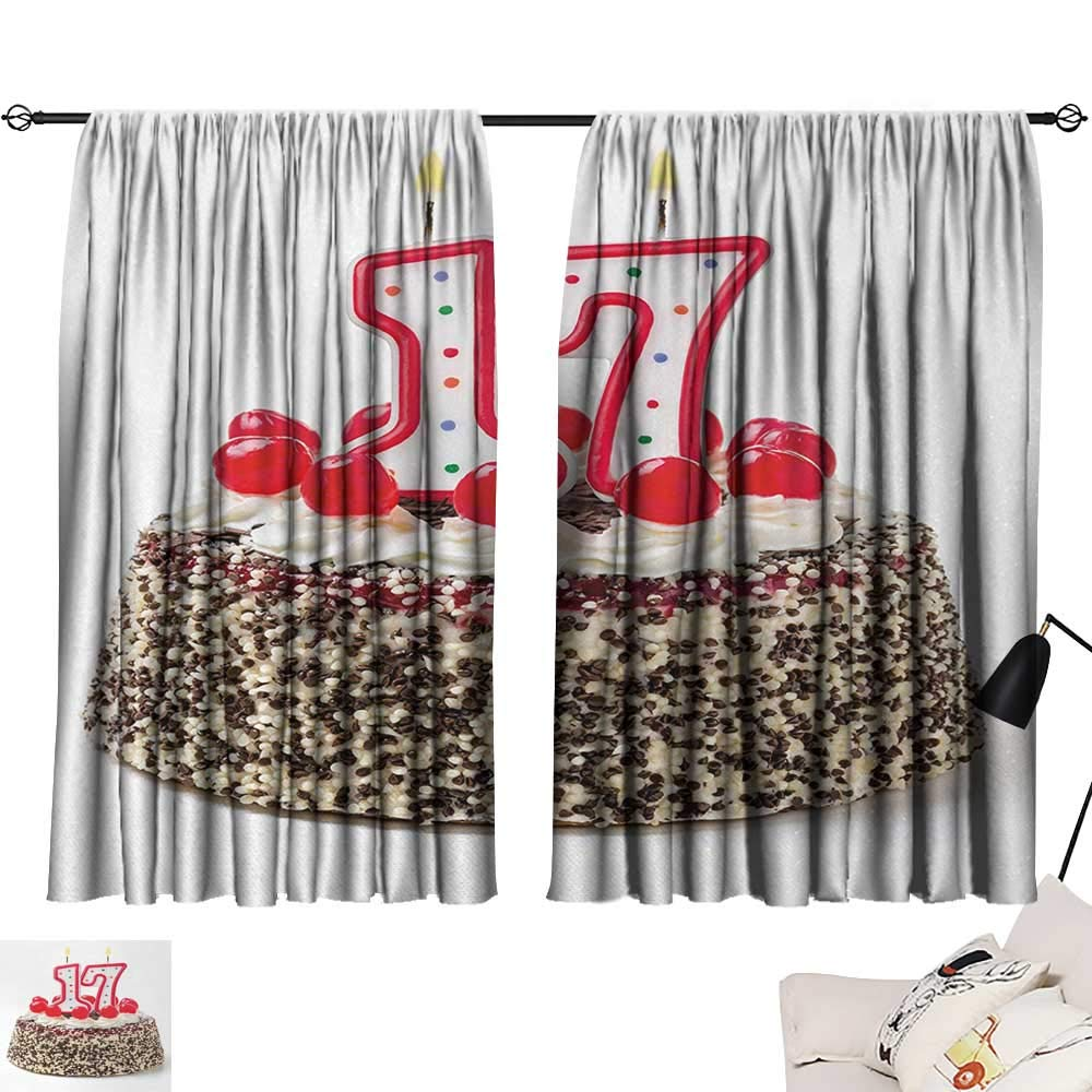 Jinguizi 17th Birthday Curtain Door Panel Birthday Cake with Cherries and Sprinkles and Candles Photo Artwork Print Party Darkening Curtains Multicolor W55 x L39
