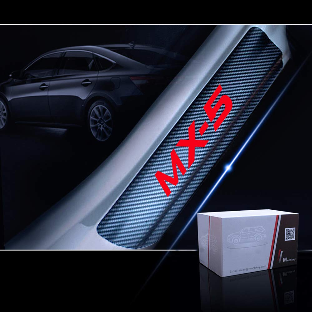 for Mazda MX-5 Door Sill Protector Reflective 4D Carbon Fiber Sticker Door Entry Guard Door Sill Scuff Plate Stickers Auto Accessories 4Pcs Red