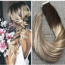 Ugeat 20inch 50Gram 20Pcs Tape in Ombre Hair Extensions Real Remy Human Hair Tape in Extensions Balayage Color #4 Brown and #6 Dip Dye Color 22 Blonde PU Tape Extensions
