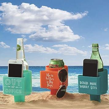 Amazon.com: Portavasos de playa, multifunción, soporte para ...