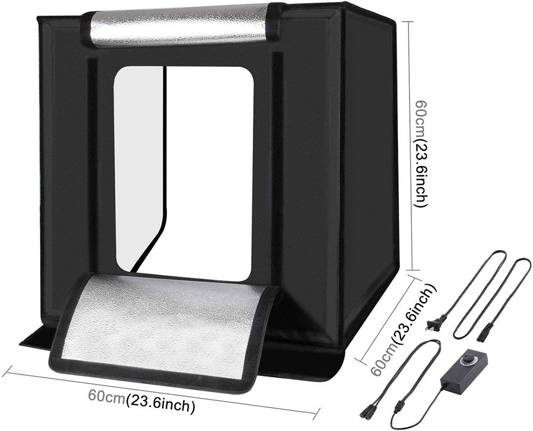 Hyx Photo Studio Light Box Portable 60 x 60 x 60 cm Light Tent LED 5500K Mini 60W Photography Studio Tent Kit with 6 Removable Backdrop Black Orange White Green Blue Red Camera Parts Accessories