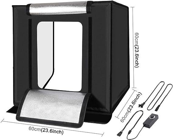 Camera Parts Accessories Hyx Photo Studio Light Box Portable 60 x 60 x 60 cm Light Tent LED 5500K Mini 60W Photography Studio Tent Kit with 6 Removable Backdrop Black Orange White Green Blue Red