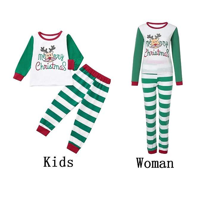 4fd2d61878 K-youth Conjunto de Pijamas Ropa Familiar Navidad Fiesta Elk Hombre Mujer  Niños Niña Camisetas