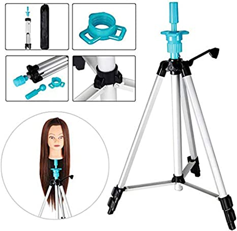 Lurrose 1pc Head Tripod Support Model Head Stand Wig Stand Holder Portable Wig Holder Hairpieces Display Tool Silver Triangle Bracket Blue Rubber Head