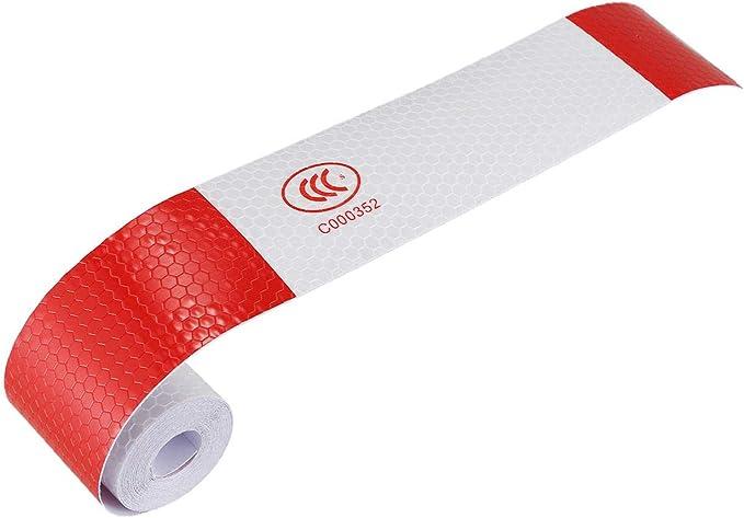 1X 2 Zoll X 10 Fuß 3 Meter Nacht Reflektierende Sicherheit Warn Weiß Rote B R3B9