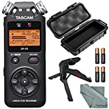 Tascam DR-05 Portable Handheld Digital Audio Recorder and Accessory Bundle with Waterproof Case + XPIX Tripod + Batteries + Fibertique Cleaning Cloth