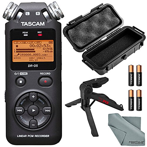 Tascam DR-05 Portable Handheld Digital Audio Recorder and Accessory Bundle with Waterproof Case + XPIX Tripod + Batteries + Fibertique Cleaning Cloth by Photo Savings