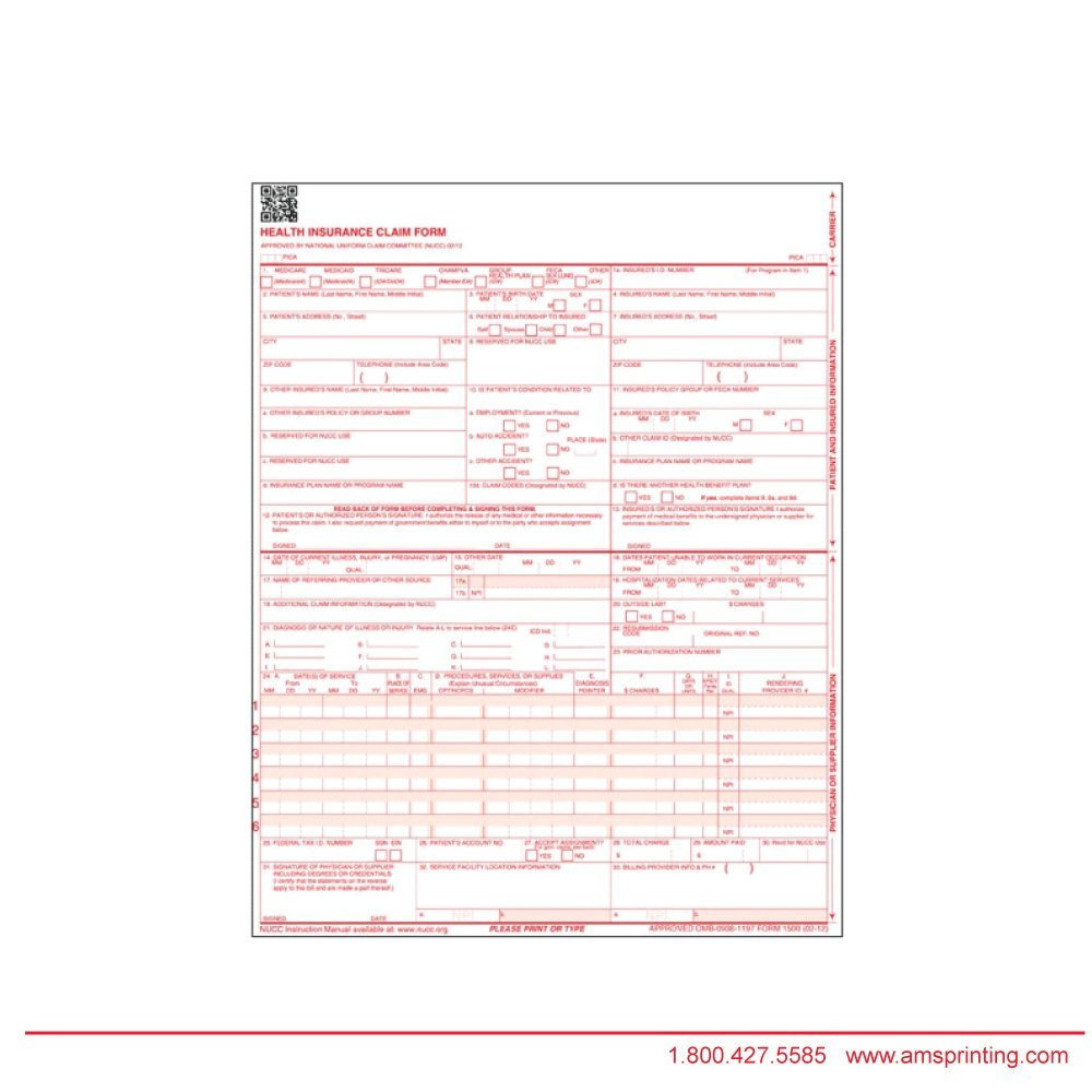 HCFA/CMS 1500 claim forms. All forms are per HIPAA regulations. Form size is 8 1/2'' x 11''. Each package contains 500 white color stock sign-in forms and printed in Red ink.