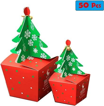 50 Piezas De Cajas De Dulces De Regalo De Navidad Individuales Con Campana Para Pastel De
