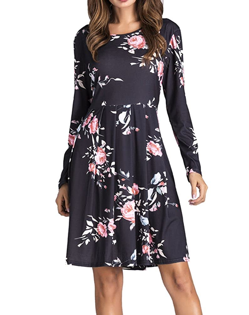 6c50a370ebb3 Yomoko Women s Long Sleeve Casual Dress With Floral Print Pleated Below Loose  Swing Tunic T-Shirt Dresses at Amazon Women s Clothing store