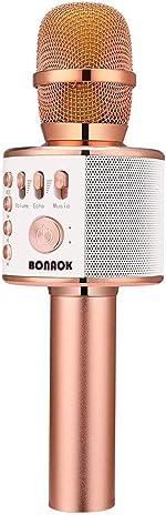 BONAOK Bluetooth Karaoke Wireless Microphone,3-in-1 Portable Handheld Karaoke Mic Speaker Machine