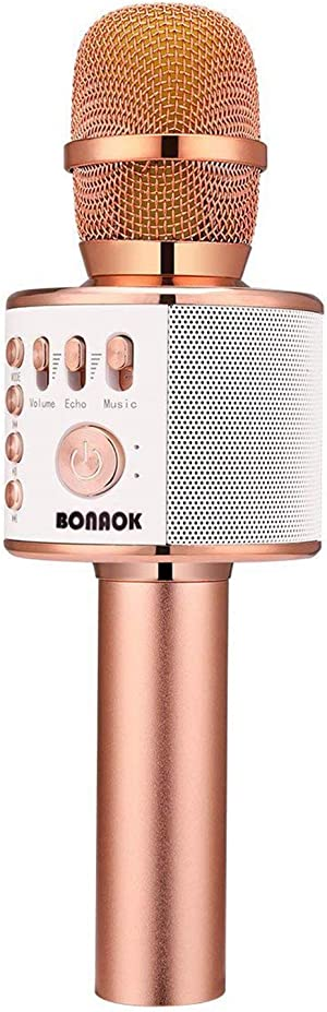 BONAOK Bluetooth Karaoke Wireless Microphone,3-in-1 Portable Handheld Karaoke Mic Speaker Machine Christmas Birthday Home Party for Android/iPhone/PC or All Smartphone Q37