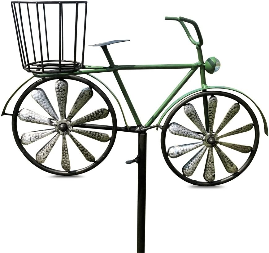WHW Whole House Worlds Americana Green Bike Garden Stake, Spinning Wheels, Basket, Vintage Style Details, Outdoor Decoration, Rustic, Antiqued Finish, Over 4 Feet Tall (52 Inches)