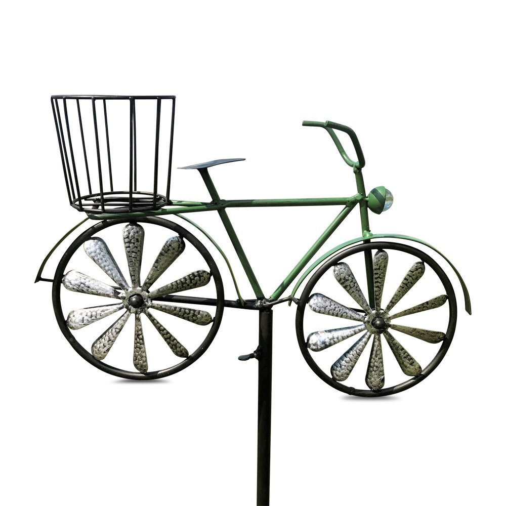 Whole House Worlds The Americana Green Bike Garden Stake, Spinning Wheels, Basket, Vintage Style Details, Outdoor Decoration, Rustic, Antiqued Finish, Over 4 Feet Tall (52 Inches) By WHW