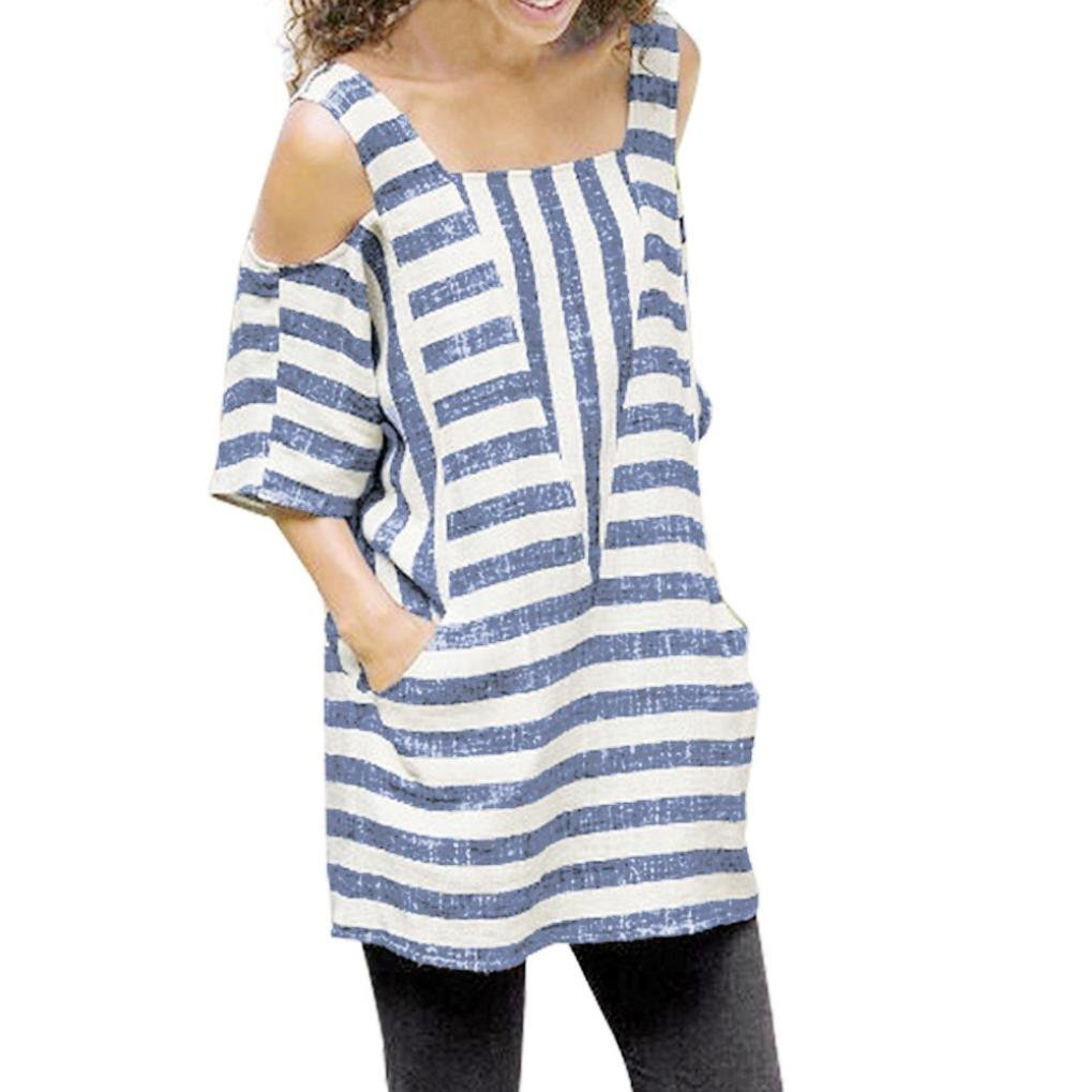f30a986531d Oksale Baby Girl's Cold Shoulder Striped Short Sleeve Tops Loose Shirts  Blouse: Amazon.in: Clothing & Accessories