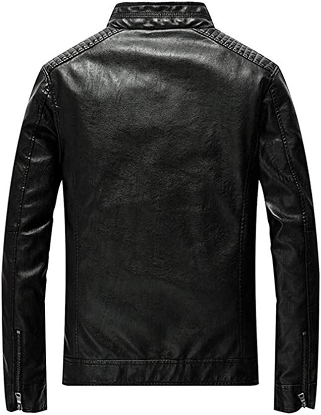 Fuwenni Mens Vintage Stand Collar Pu Faux Leather Jacket