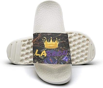 ADIDII Mens Printed Non-Slip Slides flip Flop Sandals La/_Bron/_Yellow/_Logo/_Basketball Summer Casual