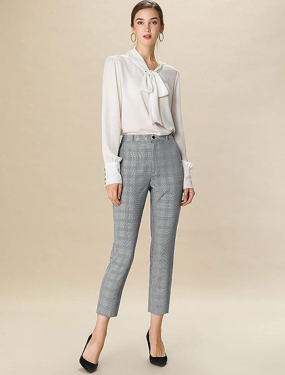 60s – 70s Pants, Jeans, Hippie, Bell Bottoms, Jumpsuits Allegra K Womens Plaid High Waist Elastic Back Office Work Ankle Pants $29.99 AT vintagedancer.com