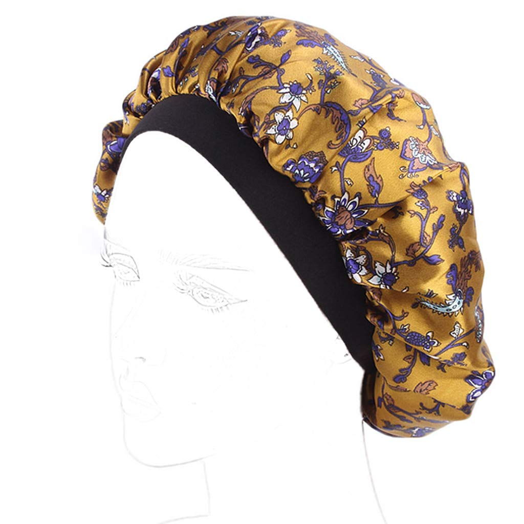 HBSHE Femmes Satin Nuit Capuchon De Couchage Salon Bonnet Floral Ethnique Perte De Cheveux Soins Chemo Beanie Turban Chapeau Large Bande Élastique