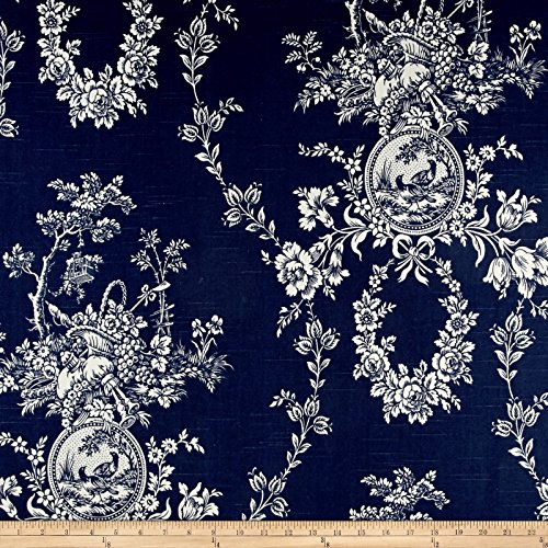 WAVERLY Country House Toile Linen Fabric, Indigo Blue