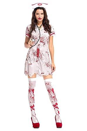 Amazon Com Fancycloth Halloween Horror Bloody Nurse Costume Women