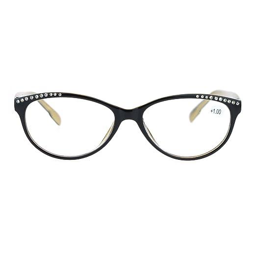 d433b4d0aa0 Womens +1.0 Rhinestone Bling Trim Cat Eye Reading Glasses Black Gold
