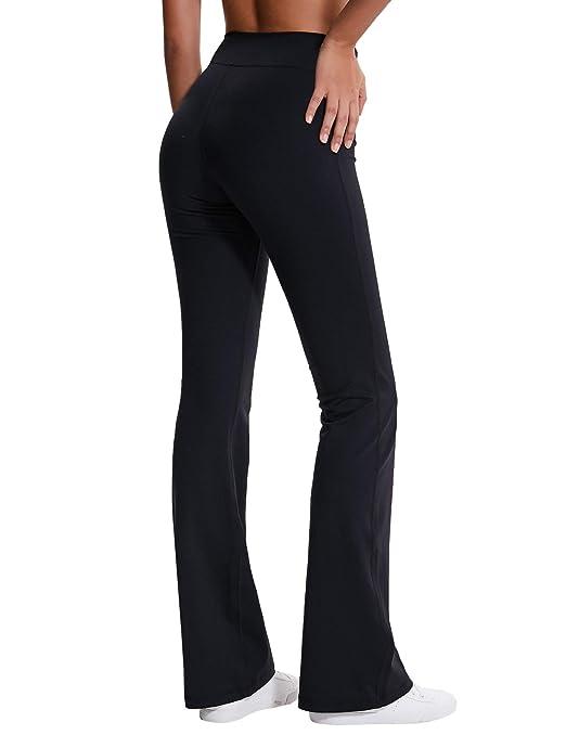 e9c96a02a5354 Amazon.com : ChinFun Women's Performance High Waist Bootleg Yoga Pants  Inner Hidden Pocket Tummy Control Bootcut Sweatpants Ankle Leggings :  Clothing