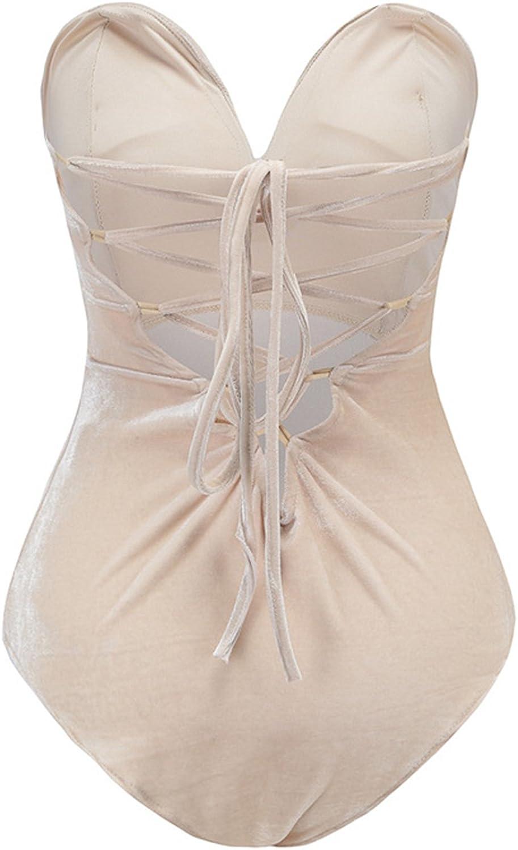Joeoy Womens Vintage Bandeau Sweetheart Back Lace Up Velvet Bodysuit Jumpsuit Leotard