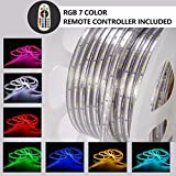 Shine Decor RGB Led Strip Lights, Rope Light, High voltage 110V-120V, SMD 5050 60Led/M, 150ft/roll, With plastic tube cover, flexible indoor/outdoor use, Accessories included + Remote Controller