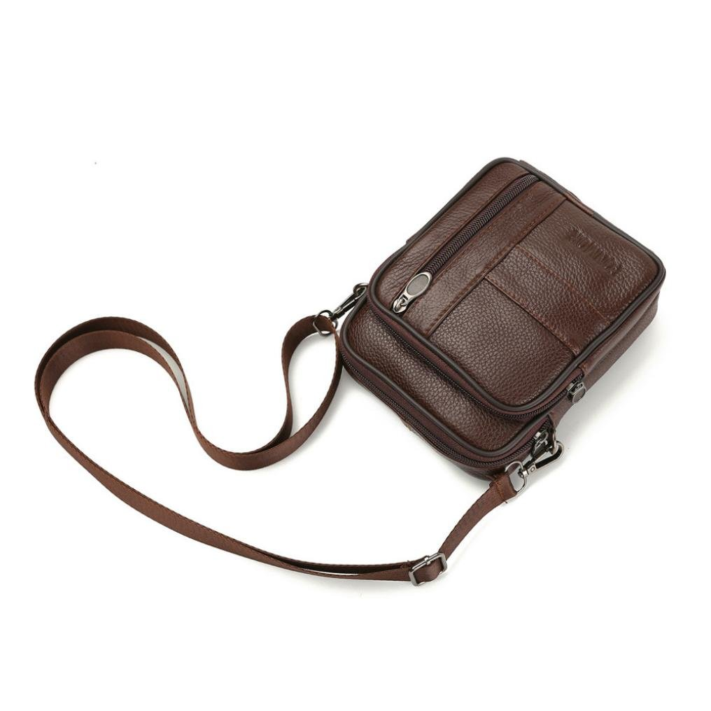 Messenger Bags, Men Vintage Small Leather Shoulder Crossbody Purse Casual Business (Brown) by Hechun (Image #4)