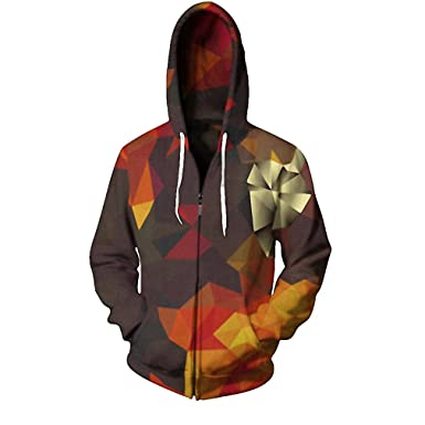 Hooded Sweatshirt Zipper Outerwear 3D Hoodies Women Men Zip Up Hoodie Tracksuits at Amazon Mens Clothing store: