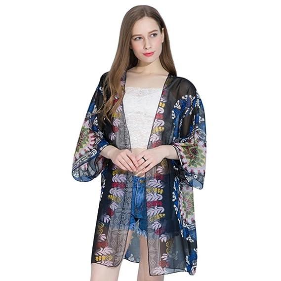 ❤️Sannysis Pijamas para mujer, lencería kimono corto de satén de estampado floral gasa de
