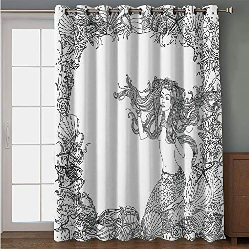 Blackout Patio Door Curtain,Mermaid,Mermaid in Artsy Seashells Starfish Coral Reef Frame Ancient Culture Myth Artwork,Grey White,for Sliding & Patio Doors, 102