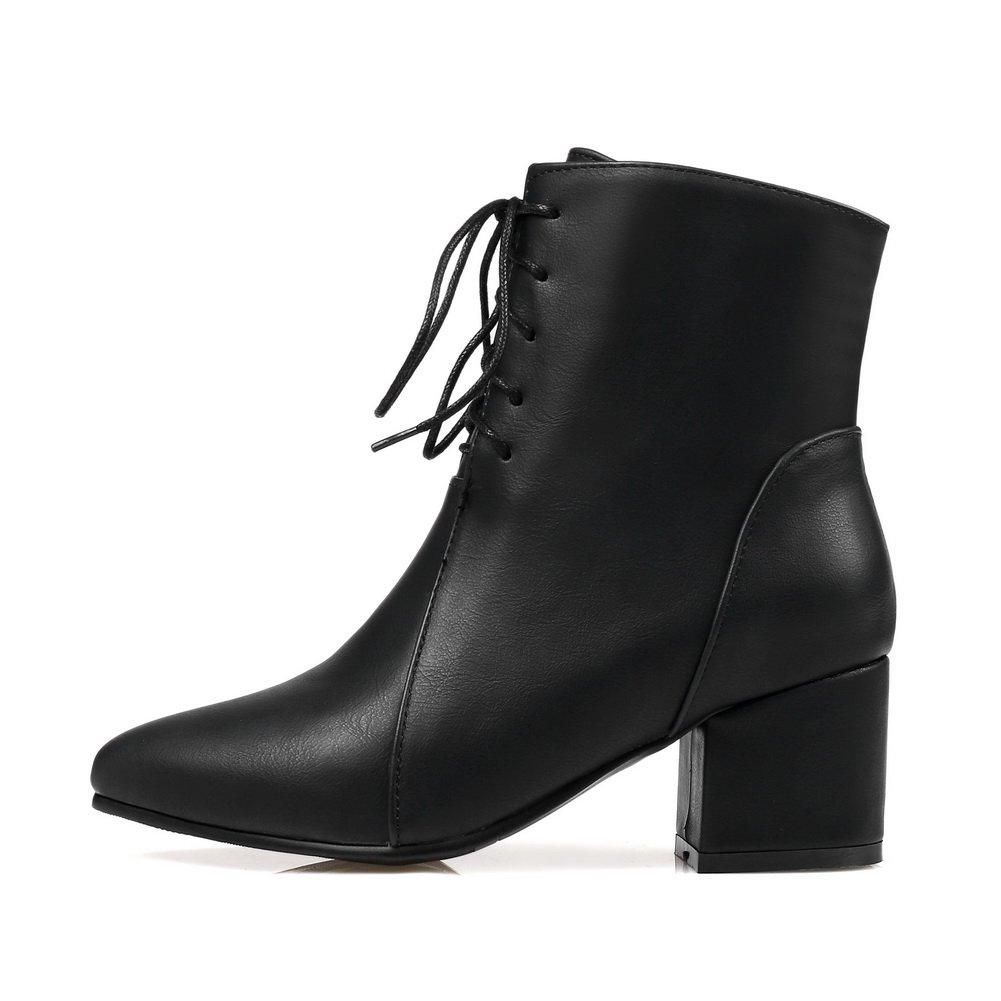 BalaMasa Womens Bandage Urethane Ankle-High Solid Pointed-Toe Urethane Bandage Boots ABL10556 B07915TJ7N Boots 054df6