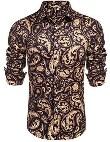 Daupanzees Mens Fashion Long Sleeve Street Wear Slim Fit Silk Urban Disco Luxury Print Button Up Shirts (Black M)