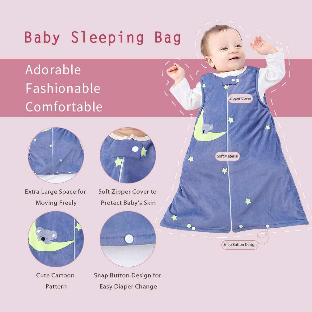 Blue MICHLEY Unisex Baby Sleeping Bag Sack Soft Wearable Swaddle Blanket Spring Winter Sleeveless Sleeper Gowns 0-6 Months
