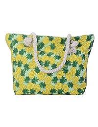 Pulama Women Beach Tote Canvas Shoulder Bag Strip Anchor Summer Handbag Top Handle Bag Straw Beach Bag