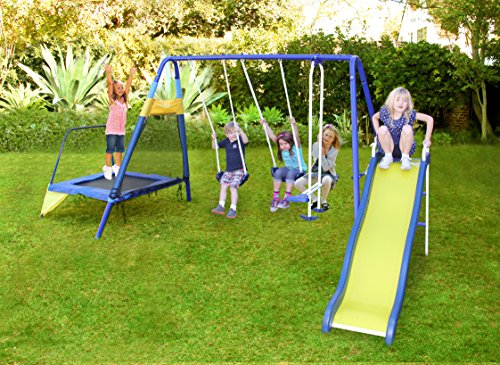 Sportspower Almansor Metal Swing Slide And Trampoline Set