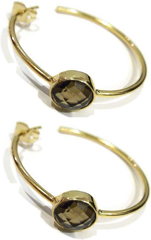 bijouxdemylene - Pendientes de aro chapados en Oro para Mujer o niña, con una Piedra de la Familia del Cuarzo, Color marrón Ahumado, Totalmente facetado